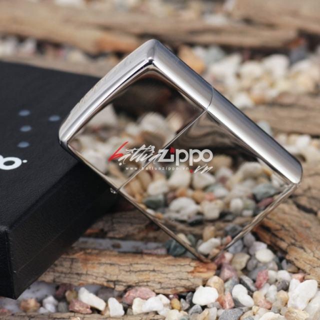 Bật lửa zippo chính hãng bạc trơn khắc chữ ZIPPO