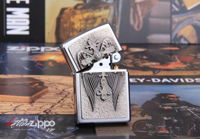 Bật lửa Zippo đôi cánh thiên thần hình thánh giá
