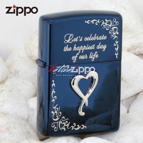 Bật lửa Zippo xanh khắc nổi trái tin phiên bản Sterling